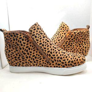 ROUGE Hidden Wedge Rose Sneaker Cheetah Animal Print Vegan High Top Round Toe 12
